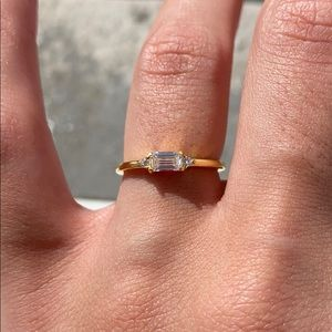 💍CZ STERLING Silver Gold Plated Baguette Ring💍